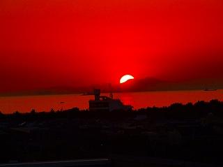 自宅から見る夕日