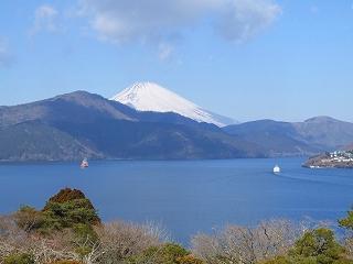 湖畔展望館2Fテラスから見る富士