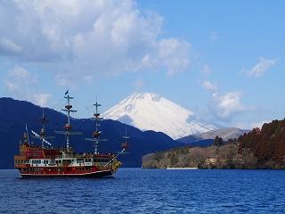 芦ノ湖釣り船桟橋から見る富士